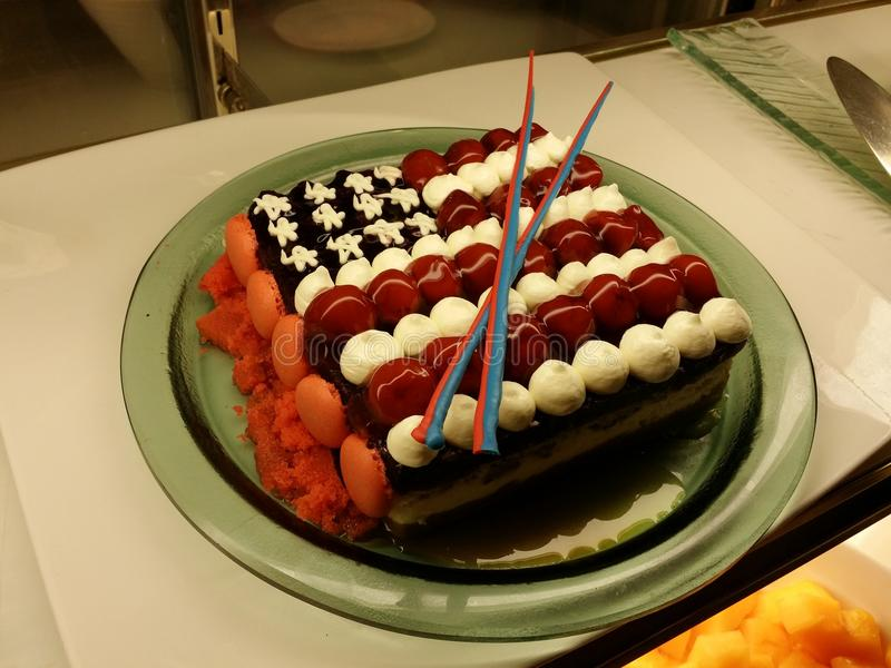 American Flag Cake. In honor of American guests, and to celebrate America's independence, this was served in the restaurant of a 5-star hotel in Cebu Province stock image