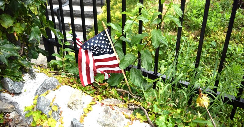 American Flag, cemetery in Woburn MA stock images