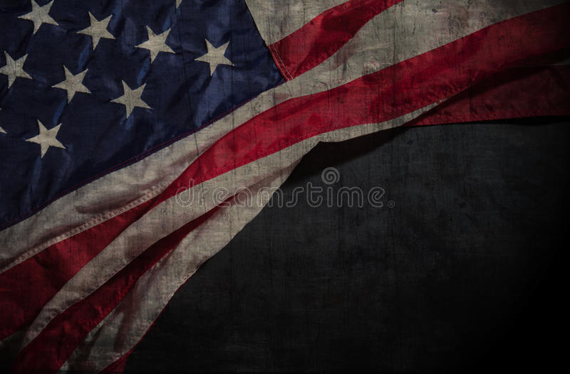 American flag on a chalkboard with space for text. Vintage American flag on a chalkboard with space for text royalty free stock image