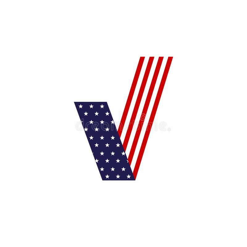 American flag of a check mark for voting The patriotic symbol of the election of the United States of America Design element royalty free illustration