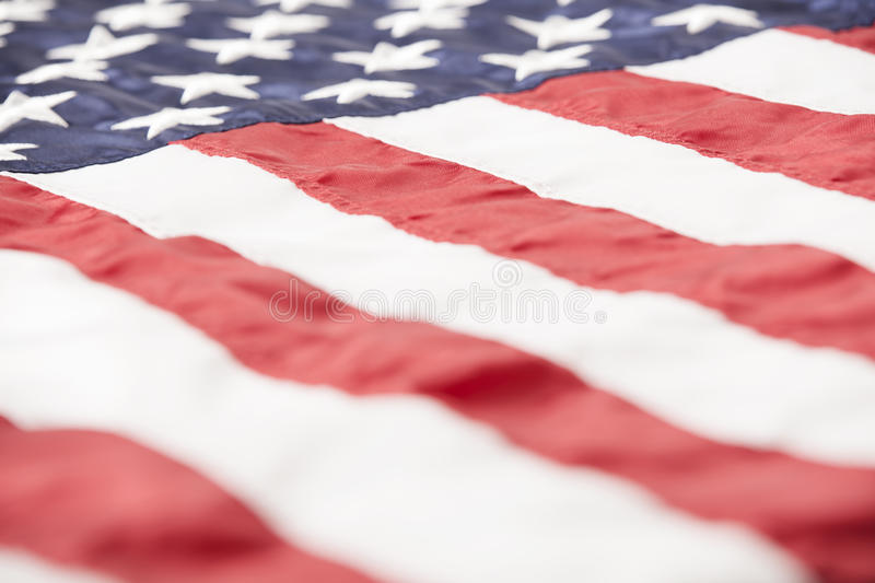 American Flag Close Up. Close-up of an American flag from a low angle royalty free stock photo