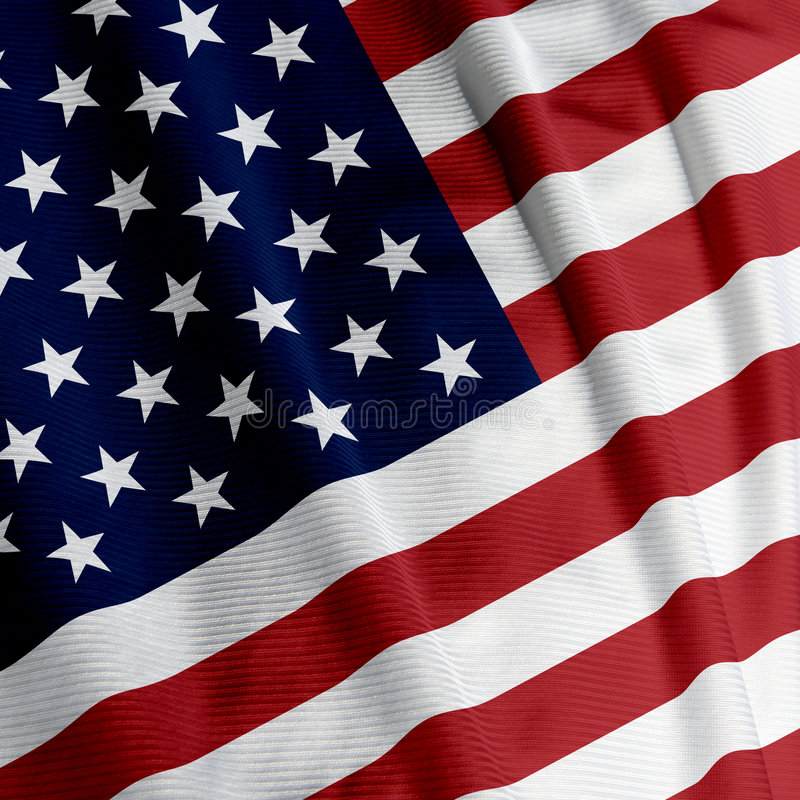 American Flag Closeup. Close up of the American flag, square image stock photography
