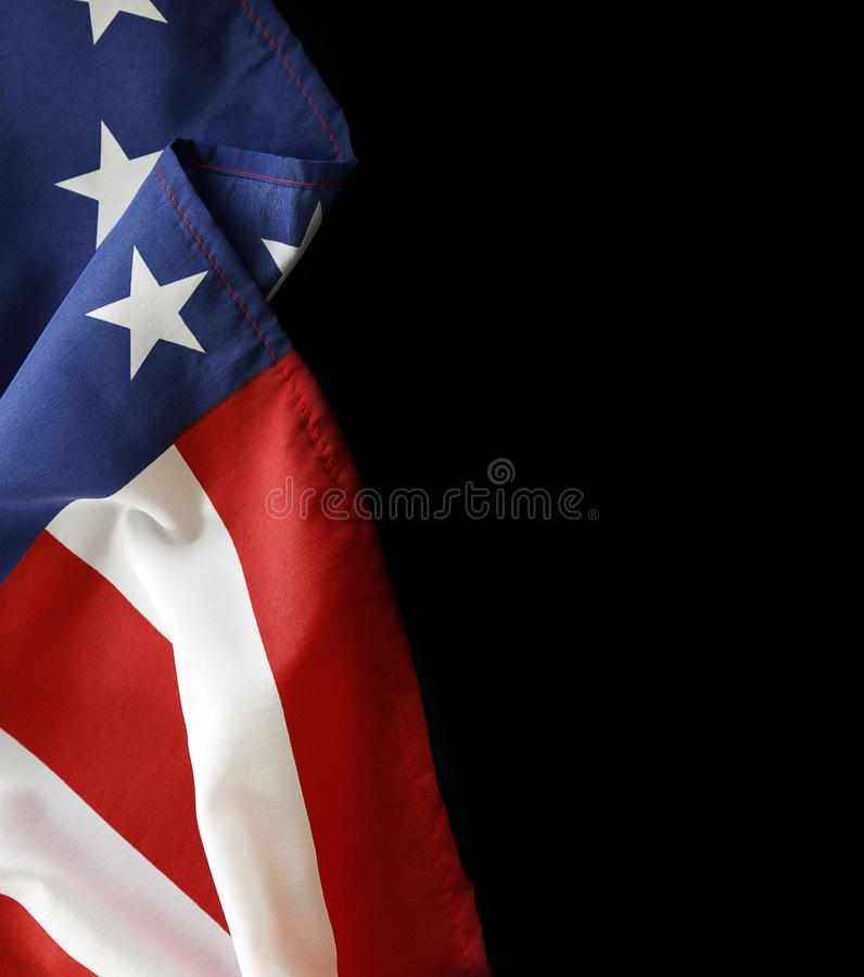American flag. Closeup of American flag on black background royalty free stock photos