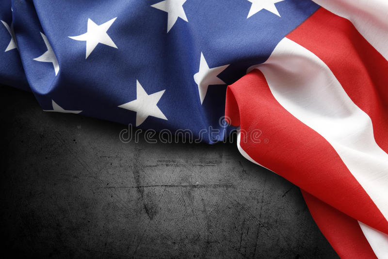 American flag. Closeup of American flag on dark background royalty free stock photo