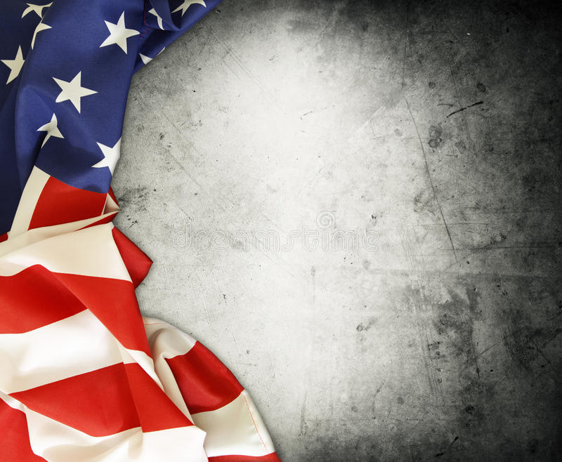 American flag. Closeup of American flag on grey background royalty free stock photography