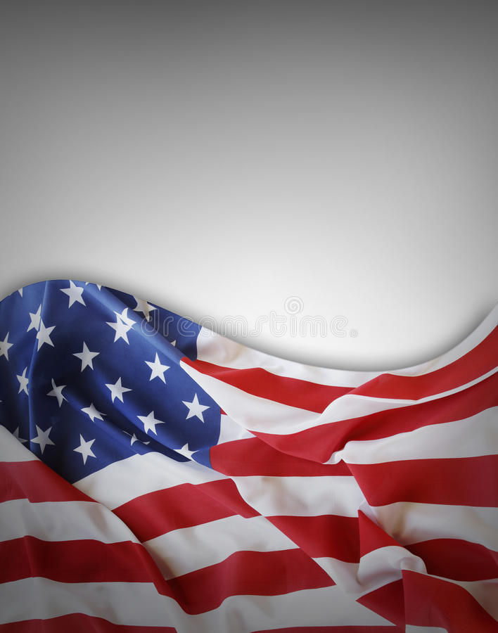 American flag. Closeup of American flag on grey background stock photography