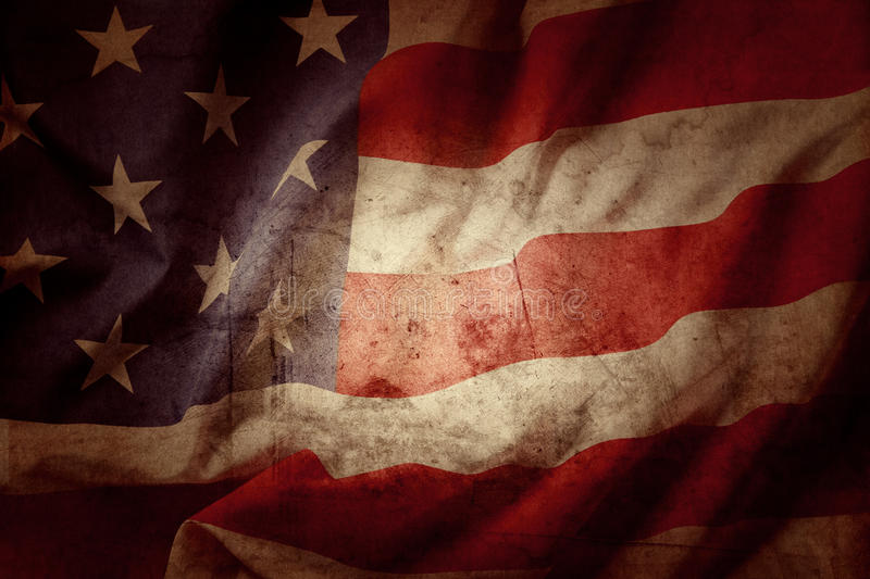 American flag. Closeup of grunge American flag stock images