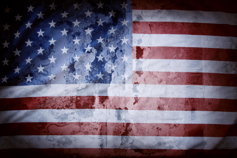American flag. Closeup of grunge American flag stock photography