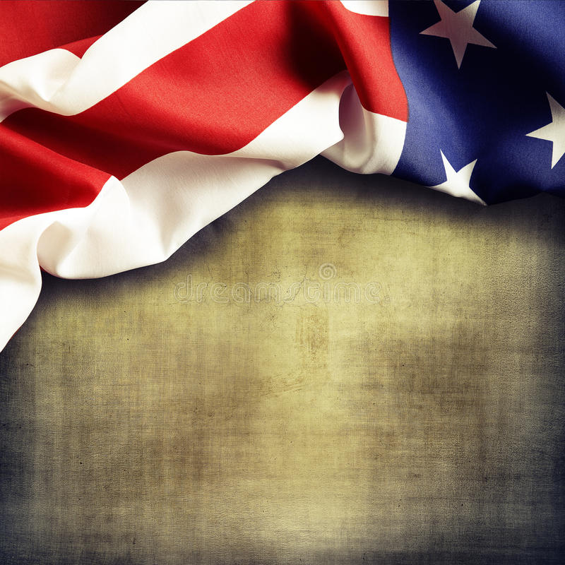 American flag. Closeup of American flag on grunge background royalty free stock image