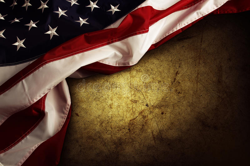 American flag. Closeup of American flag on grunge background royalty free stock photo