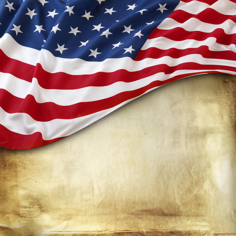 American flag. Closeup of American flag on paper background royalty free stock photos