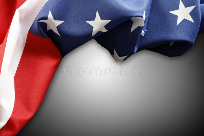 American flag. Closeup of American flag on plain background stock image