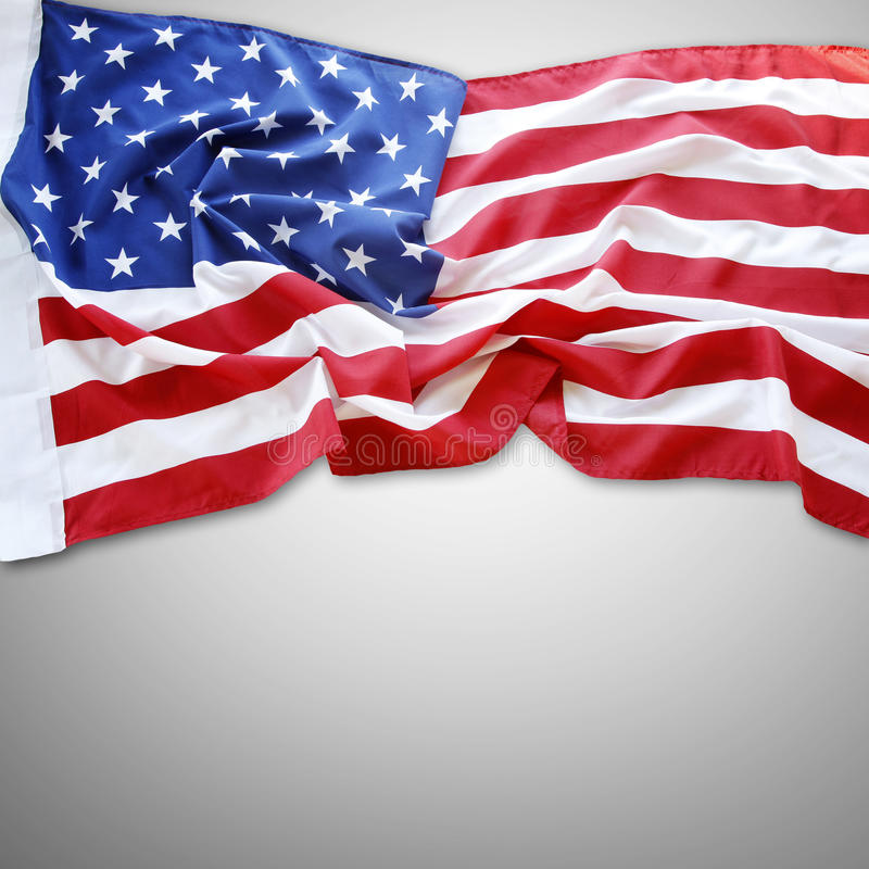 American flag. Closeup of American flag on plain background stock photography