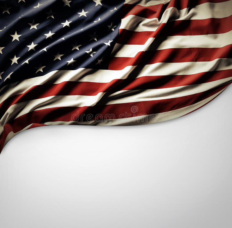 American flag. Closeup of American flag on plain background royalty free stock photography