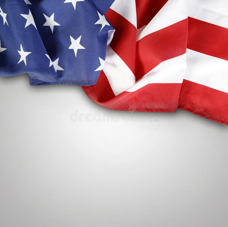 American flag. Closeup of American flag on plain background royalty free stock image