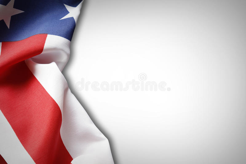 American flag. Closeup of American flag on plain background stock photos