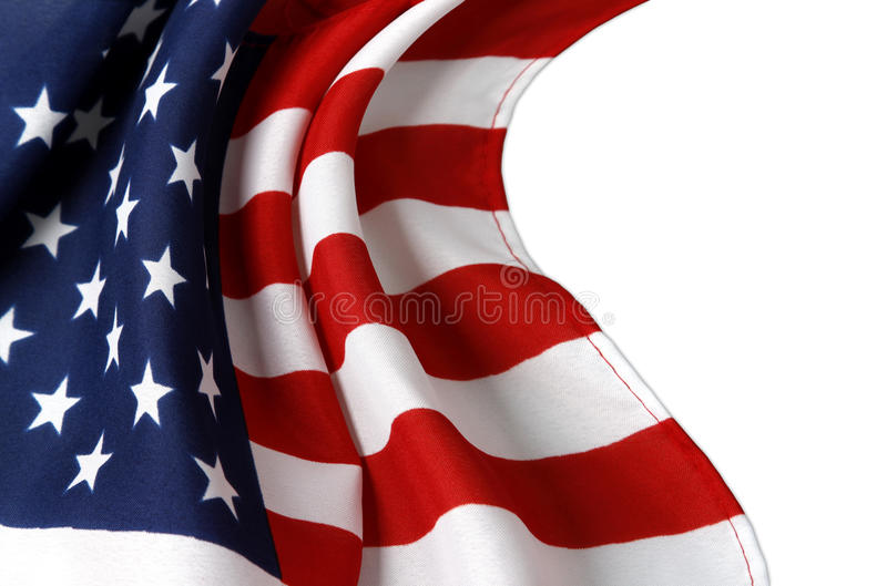 American flag. Closeup of rippled American flag on white background royalty free stock photography