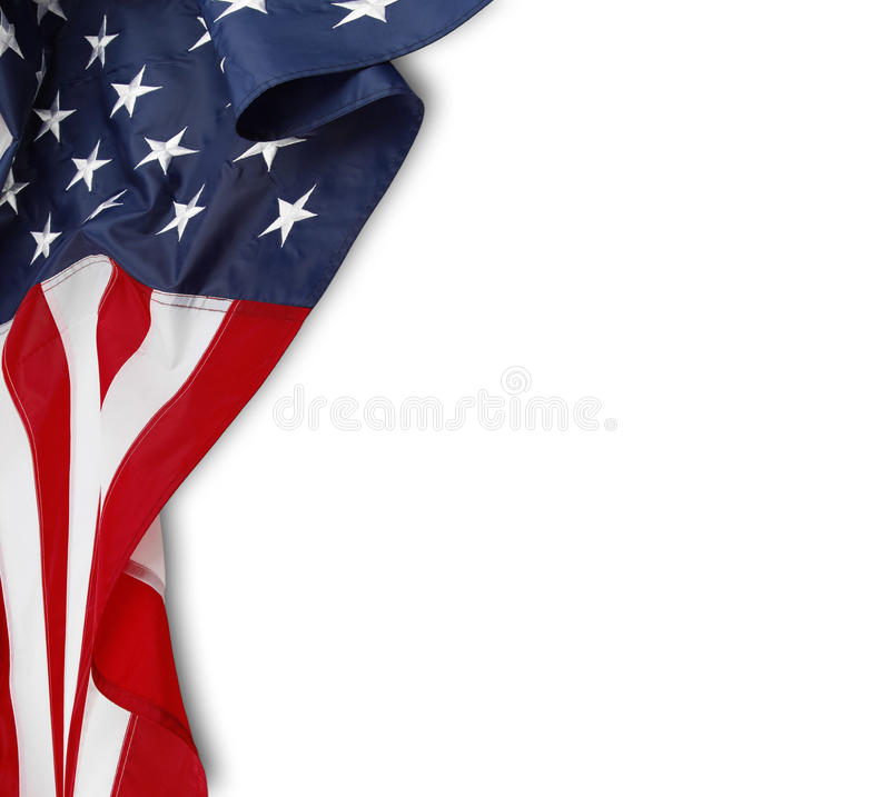 American flag. Closeup of rippled American flag on white background stock photos