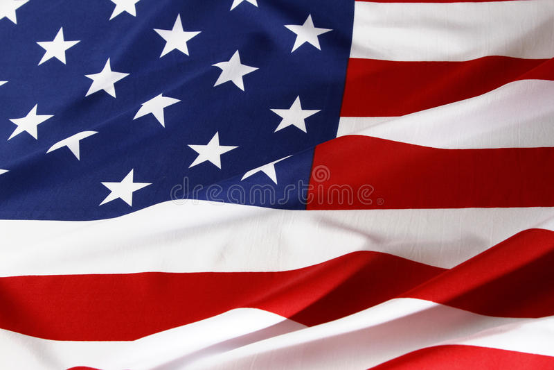 American flag. Closeup of ruffled American flag stock photo