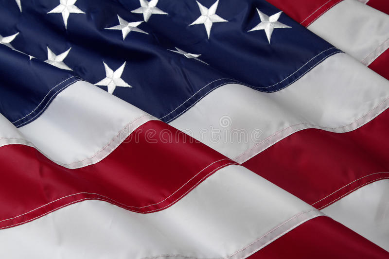 American flag. Closeup of ruffled American flag royalty free stock images
