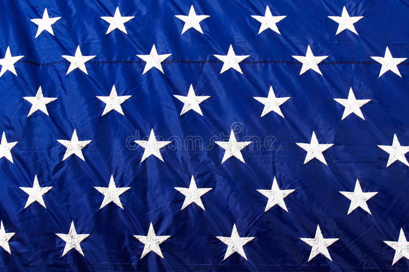 American Flag Closeup White Stars Blue Background royalty free stock photo