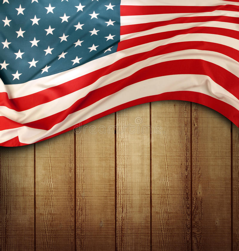 American flag. Closeup of American flag on wood stock images
