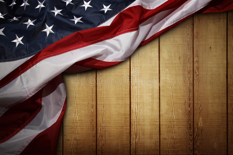 American flag. Closeup of American flag on wooden background royalty free stock photography