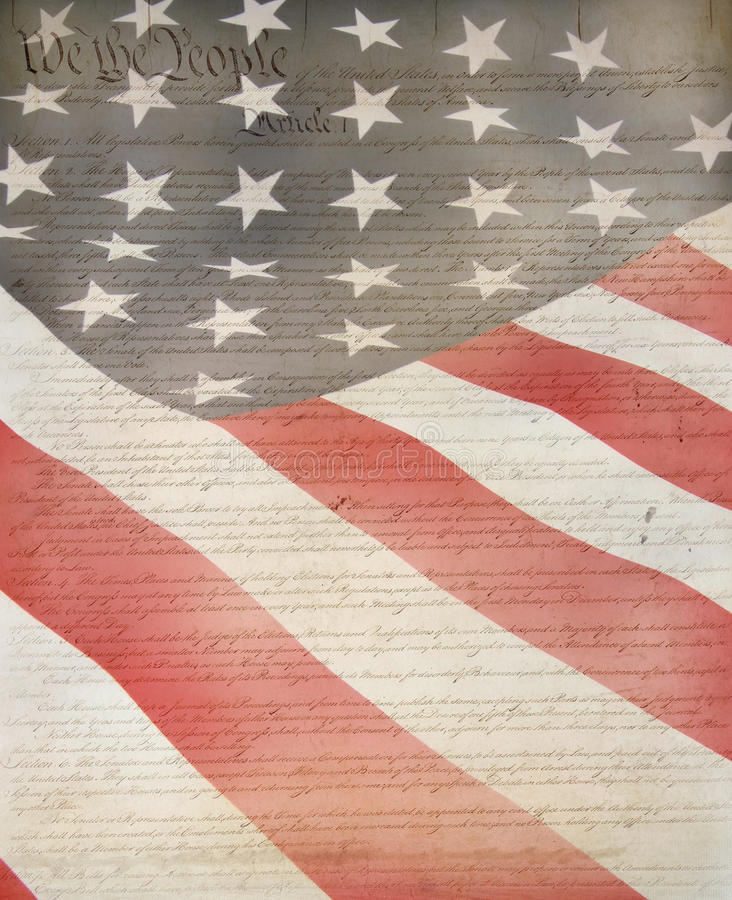 American Flag & Constitution. As patriotic background for Clip-Art royalty free stock image