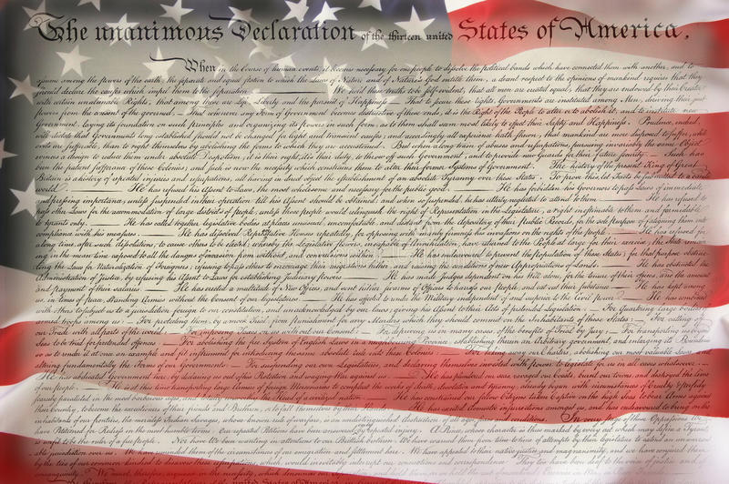 American Flag & Constitution. As patriotic background for Clip-Art stock images