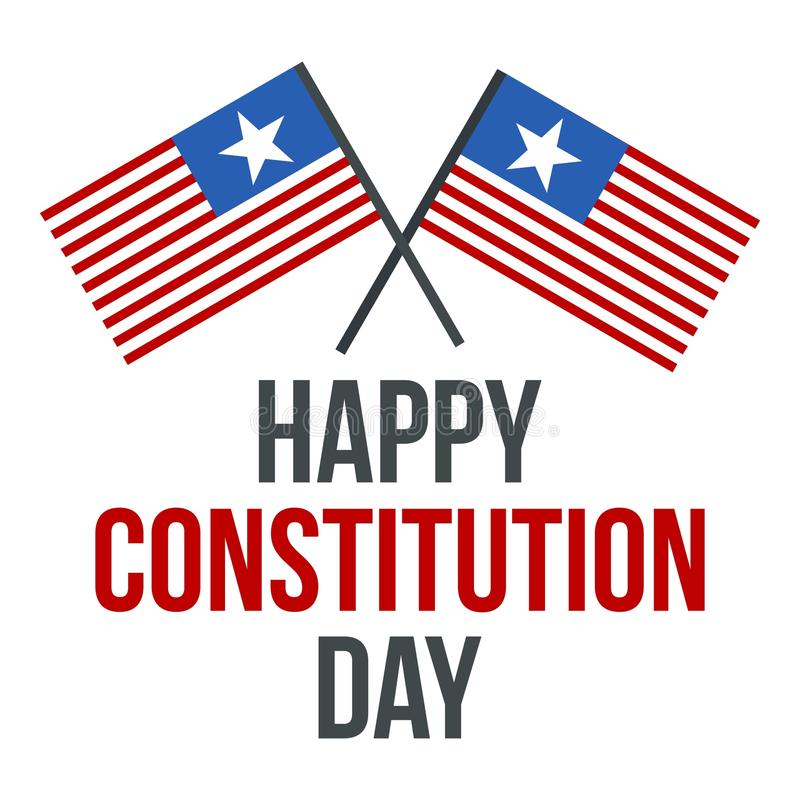 American flag constitution day logo icon, flat style stock illustration
