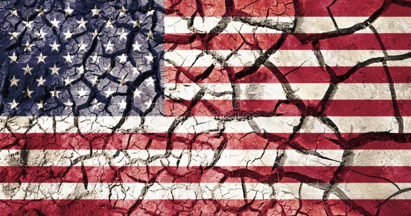 American flag on cracked ground background royalty free stock photography