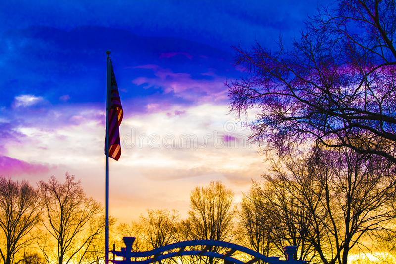American flag at dawn stock images