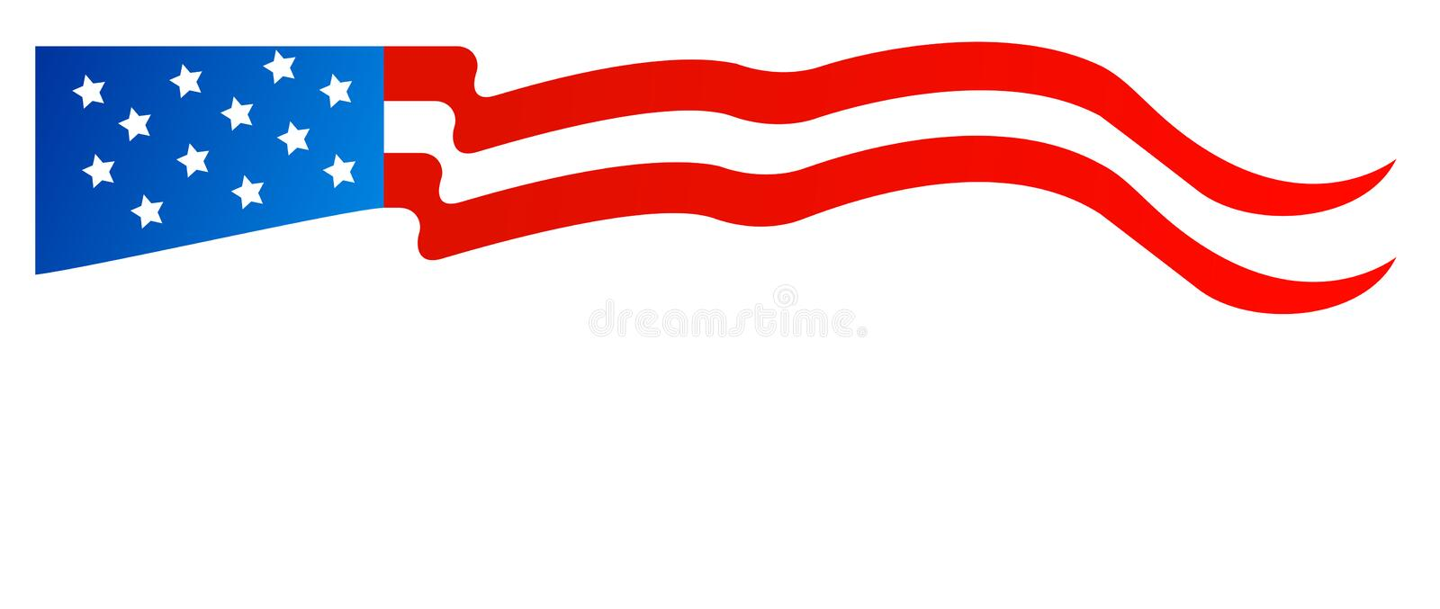 American flag decoration top. Vector illustration of flag of the united states of america, small and wide for border decorations or small rows on editorials and