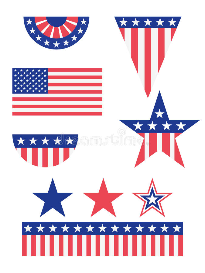 American Flag Decorations. A set of american flag decorations in different shapes and sizes