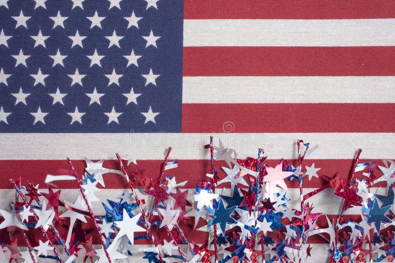 American flag decorations for the 4th of July royalty free stock photo