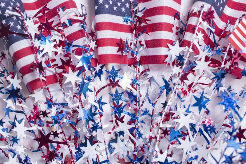 American flag decorations for the 4th of July. American flag decorations for the celebration of the fourth of July Independence Day stock photos