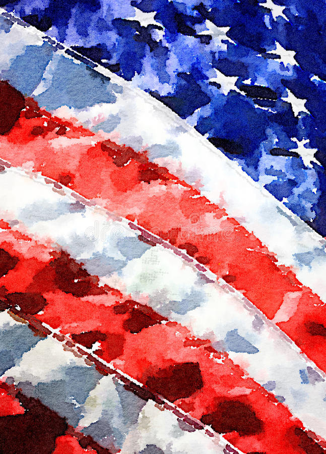 American Flag. Detail of United States of America flag in watercolor painting stock photography