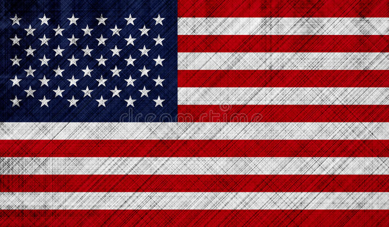 Download American Flag With Detailed Fabric Texture Stock Illustration