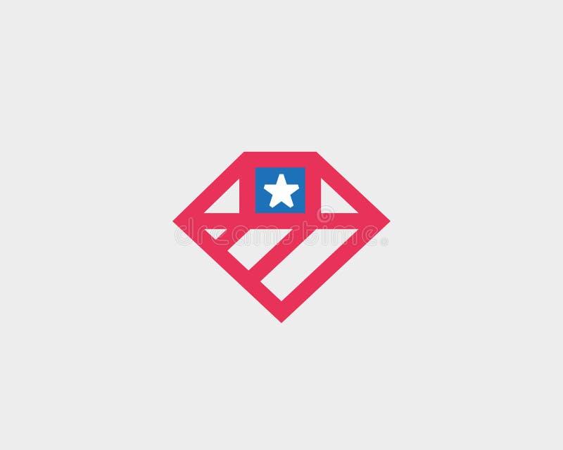 American flag diamond logo design. US national gem symbol vector logotype stock illustration