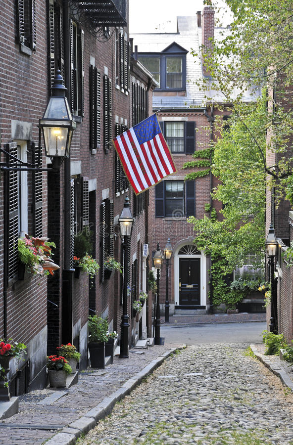 An American flag displayed on Acorn Street in Boston, Massachusetts stock photo