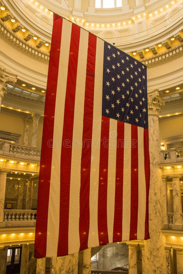 American flag displayed in the Idaho State Capital in Boise royalty free stock images