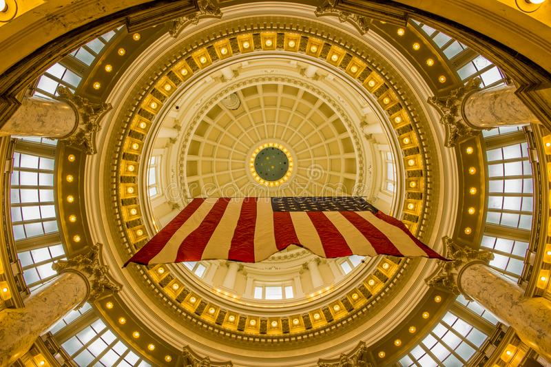 American flag displayed in the Idaho State Capital in Boise stock photos