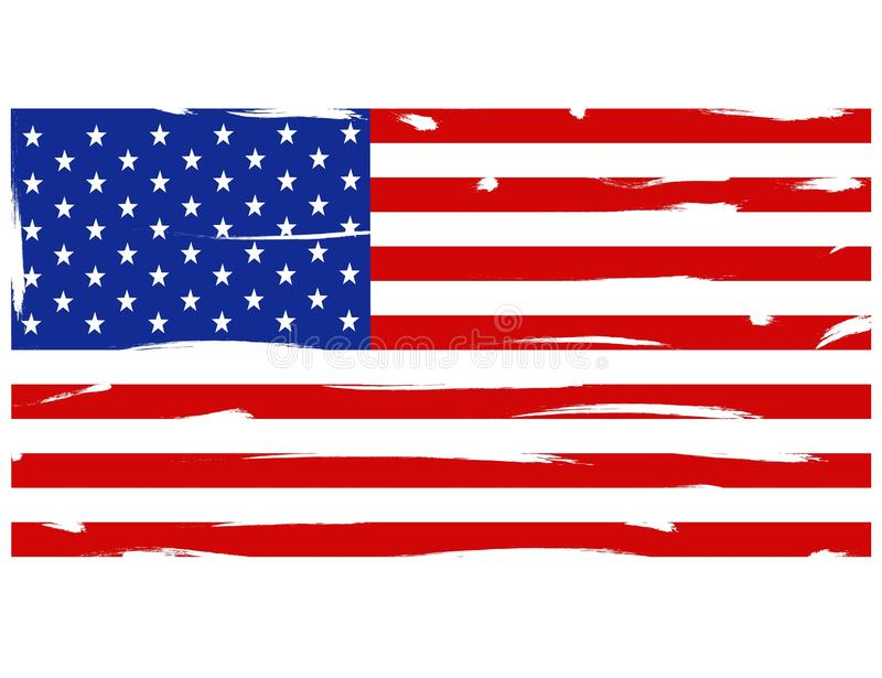 American flag distressed texture. Grunge American flag. flag of USA on white background. Flat style stock illustration