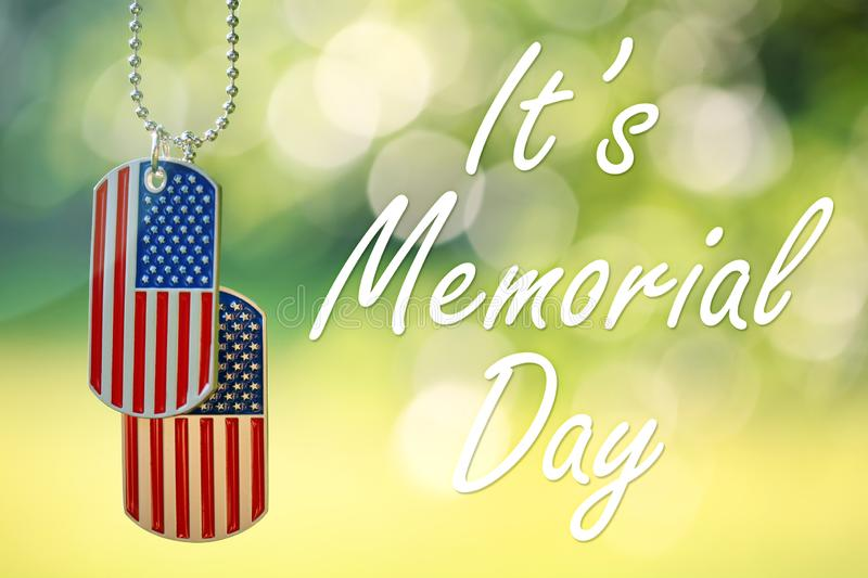 American flag dog tags hanging outside stock photos