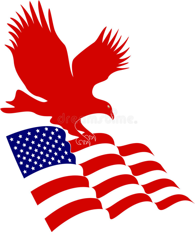 American flag with eagle vector illustration