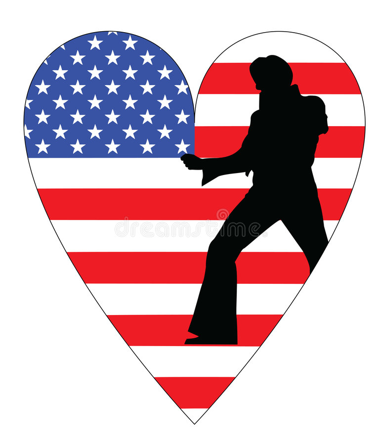 American flag with elvis. A representing elvis in the american flag vector illustration