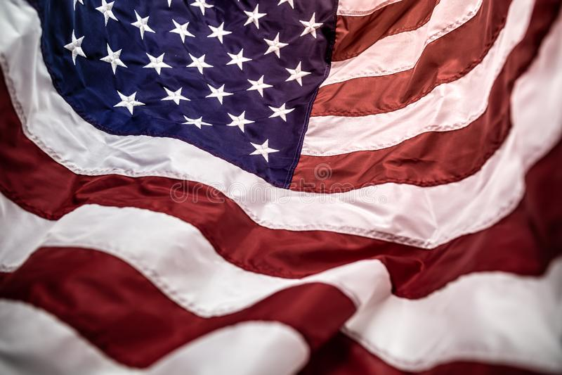 American flag with embroided stars on the blue,red and white stripes royalty free stock image