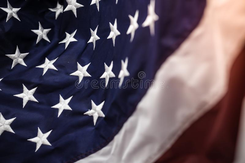 American flag with embroided stars on the blue,red and white stripes. The celebration for 4th of July,independent day of the great country royalty free stock photo