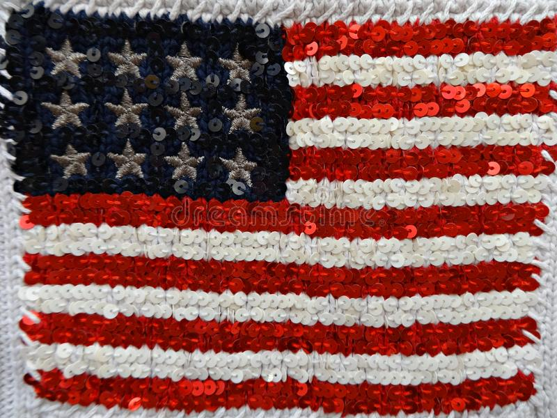 American flag embroidered with sequins royalty free stock photography