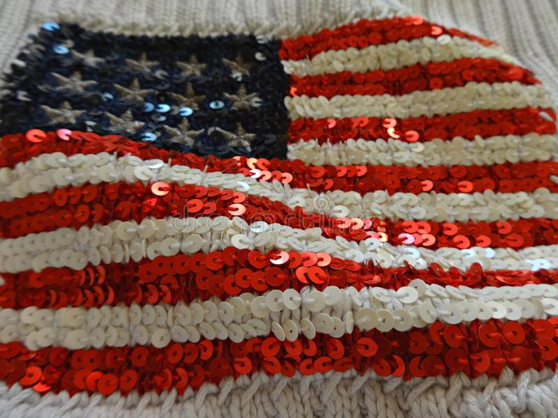 American flag embroidered with sequins royalty free stock image